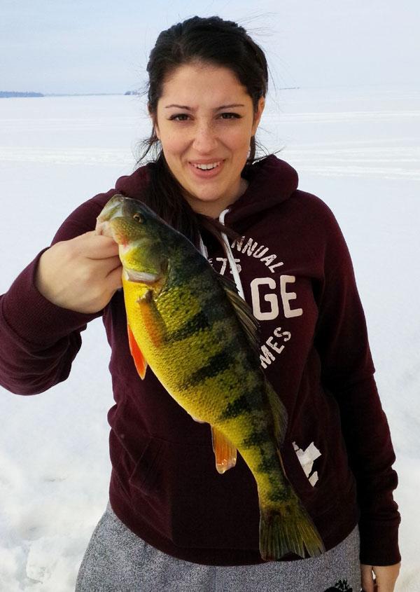 Nicole felekides catches trophy jumbo perch on lake simcoe for Lake simcoe fishing